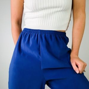 VINTAGE | Blue Relaxed High Waisted Crop Jogger